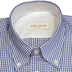 Button Down Short Sleeve Shirt - Blue & White Gingham Check - 100% Cotton