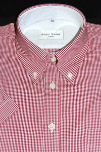 Button Down Short Sleeve Shirt - Red & White Small Gingham - 100% Cotton