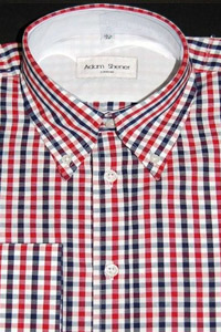 Button Down Short Sleeve Shirt - Red, Navy & White Gingham Check - 100% Cotton
