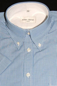 Button Down Short Sleeve Shirt - Blue & White Small Gingham - 100% Cotton